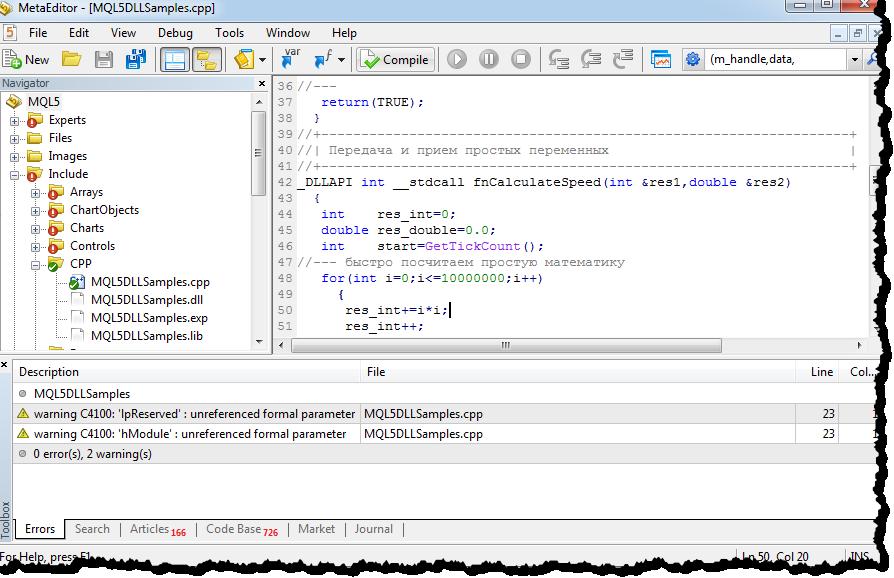 C++ Code direkt im MetaEditor 5 kompilieren...